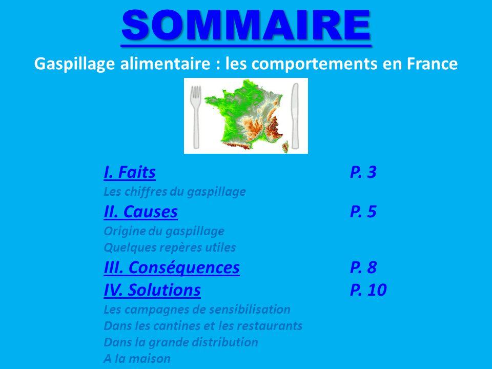 SOMMAIRE Gaspillage alimentaire : les comportements en France