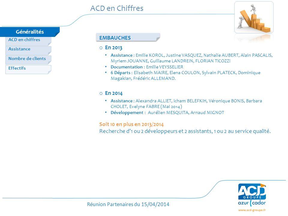 ACD en Chiffres Généralités EMBAUCHES En 2013 En 2014
