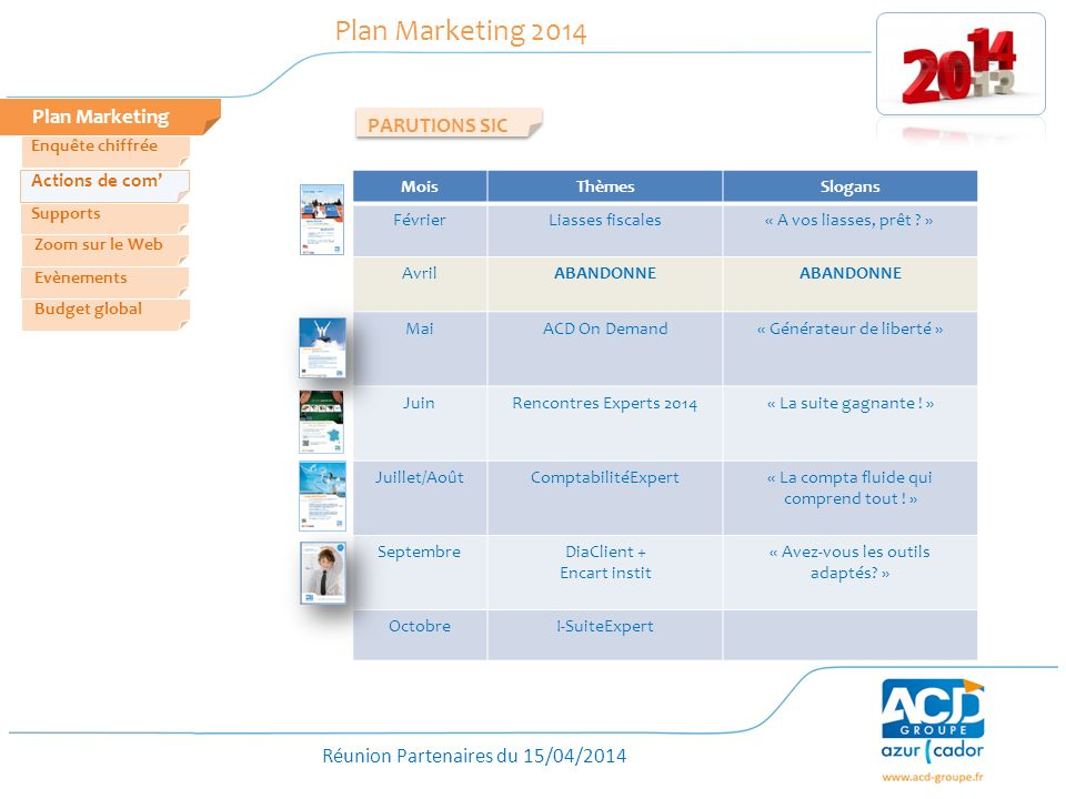 Plan Marketing 2014 Plan Marketing PARUTIONS SIC Actions de com'