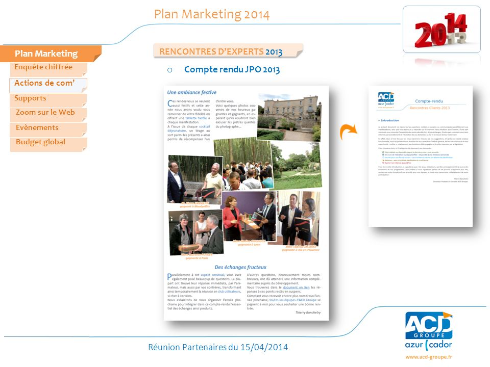 Plan Marketing 2014 RENCONTRES D'EXPERTS 2013 Plan Marketing