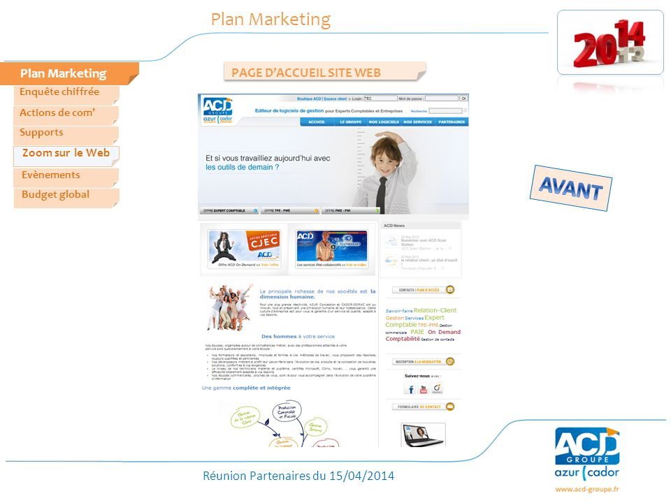 AVANT Plan Marketing Plan Marketing PAGE D'ACCUEIL SITE WEB