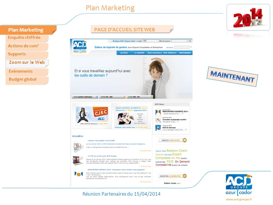 Plan Marketing MAINTENANT Plan Marketing PAGE D'ACCUEIL SITE WEB