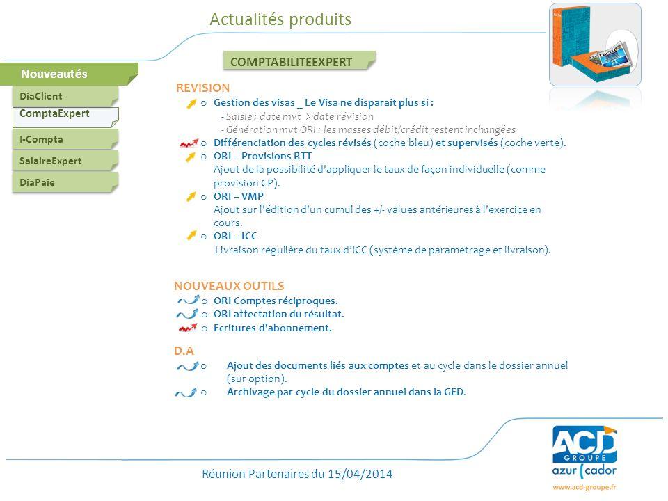 Actualités produits COMPTABILITEEXPERT Nouveautés NOUVEAUX OUTILS D.A