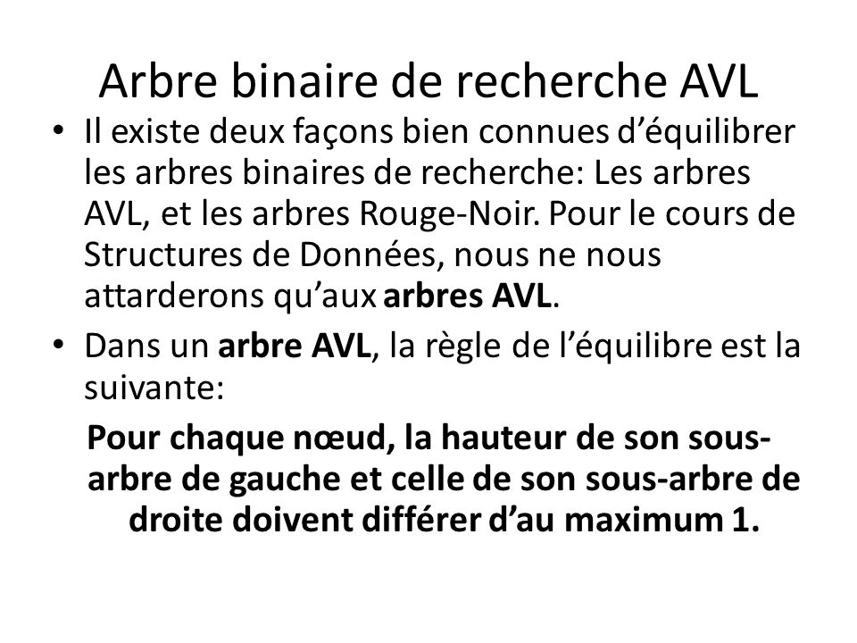 Arbre binaire de recherche AVL