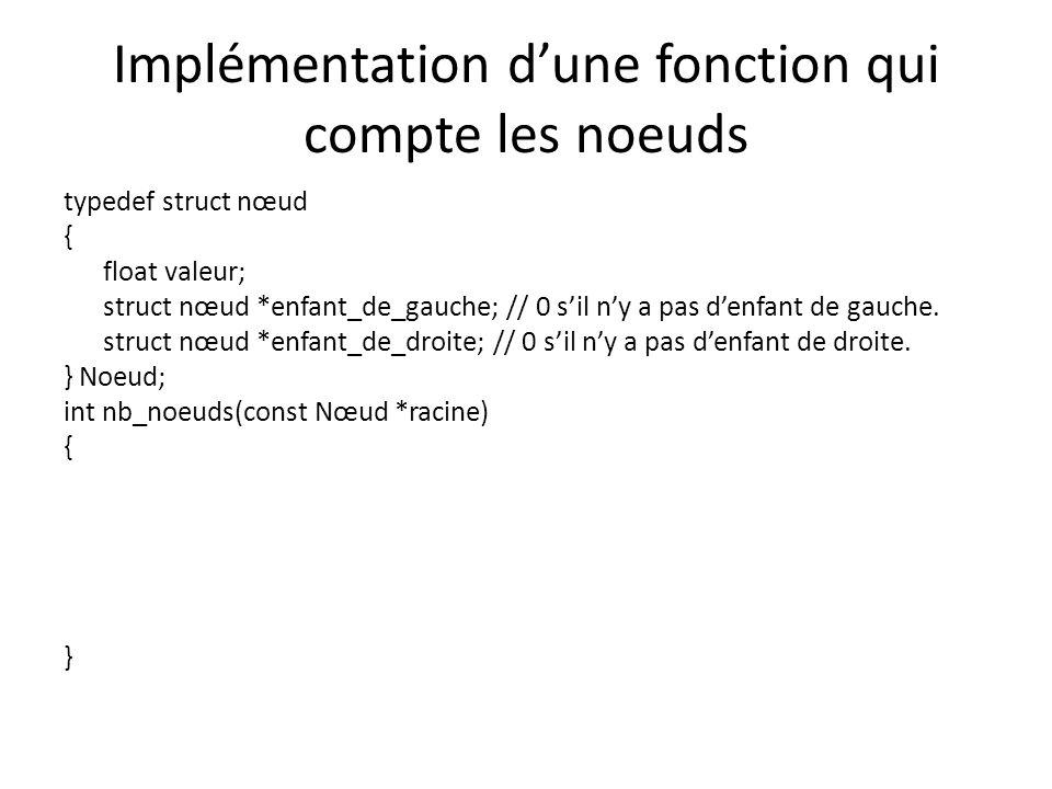 Implémentation d'une fonction qui compte les noeuds