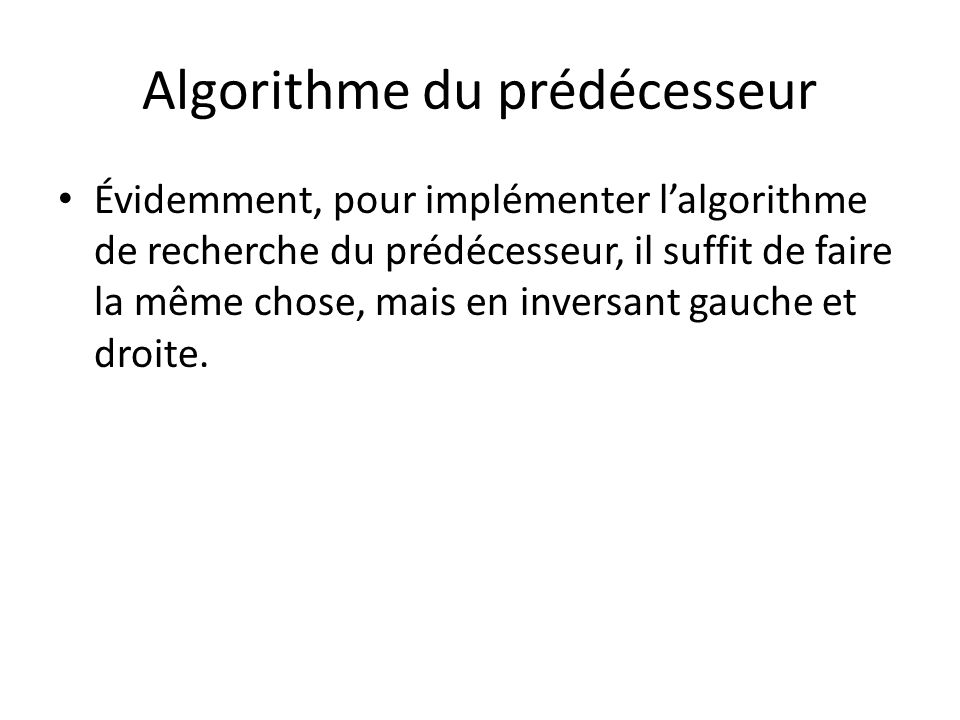 Algorithme du prédécesseur