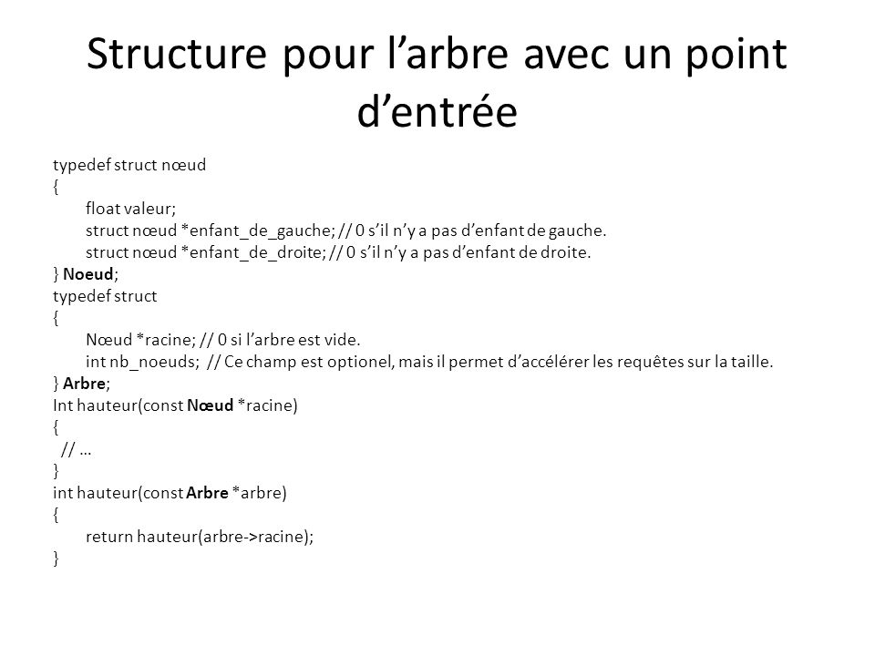 Structure pour l'arbre avec un point d'entrée