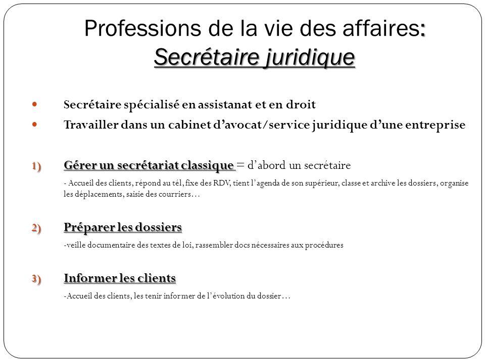 Professions de la vie des affaires: Secrétaire juridique