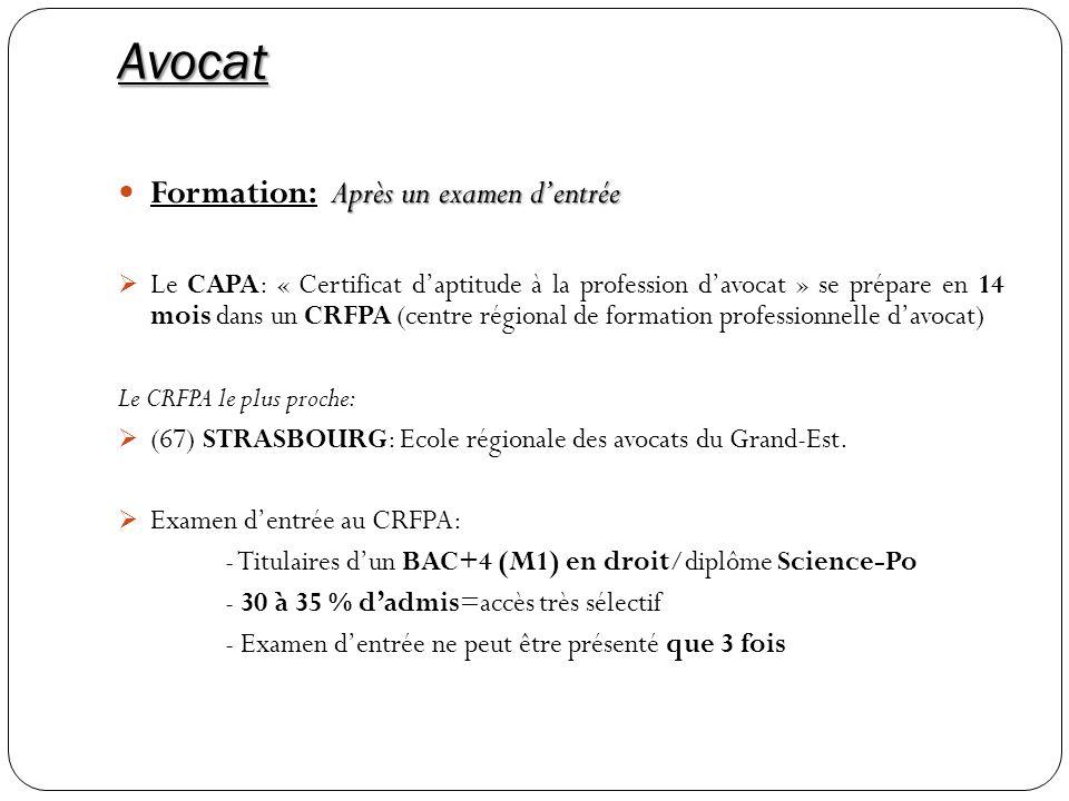 Avocat Formation: Après un examen d'entrée