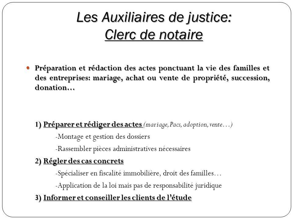 Les Auxiliaires de justice: Clerc de notaire