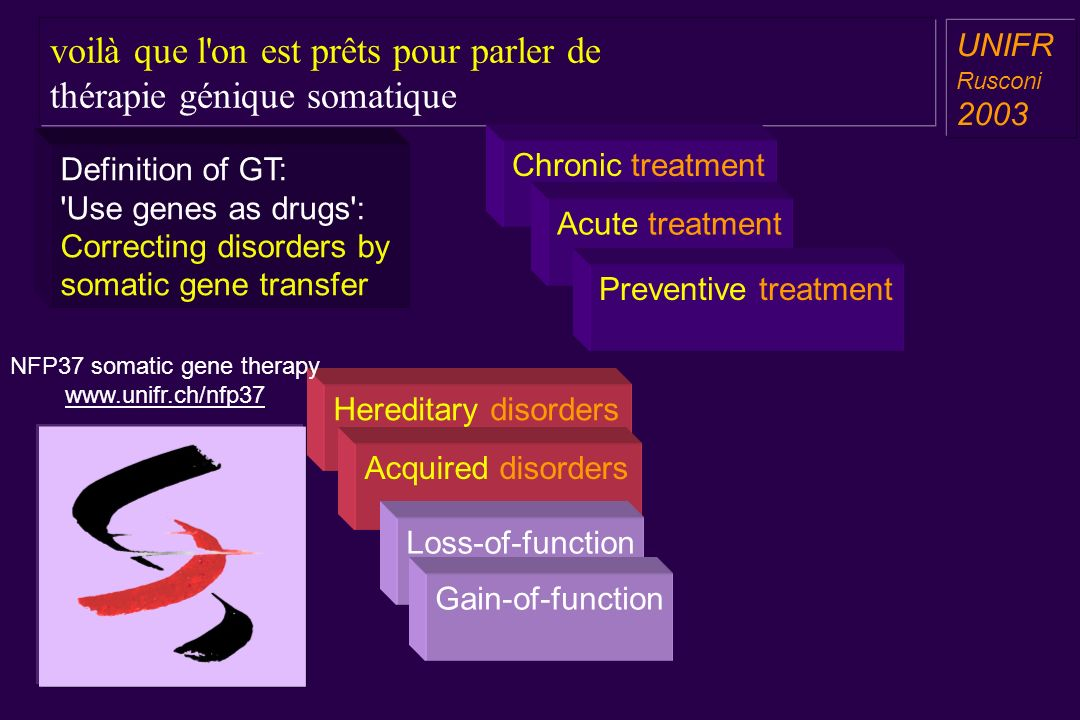 voilà que l on est prêts pour parler de thérapie génique somatique