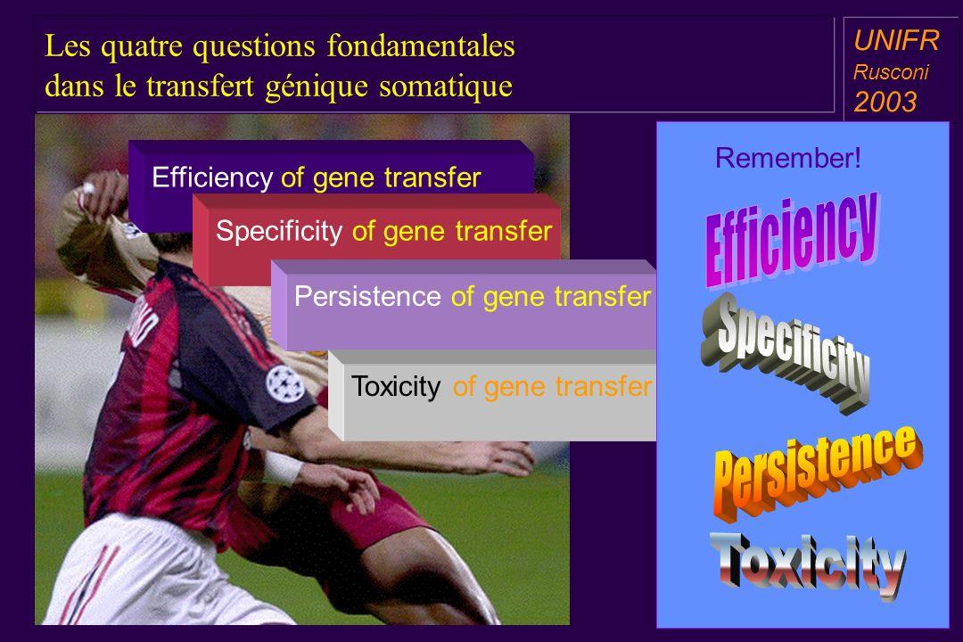 Les quatre questions fondamentales dans le transfert génique somatique