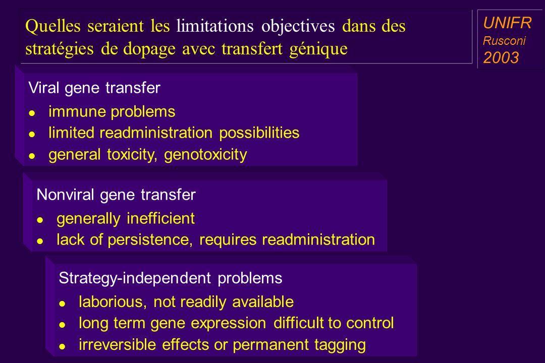 Quelles seraient les limitations objectives dans des stratégies de dopage avec transfert génique