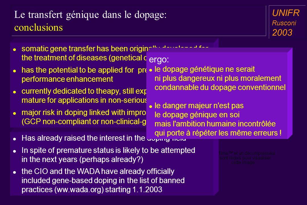Le transfert génique dans le dopage: conclusions