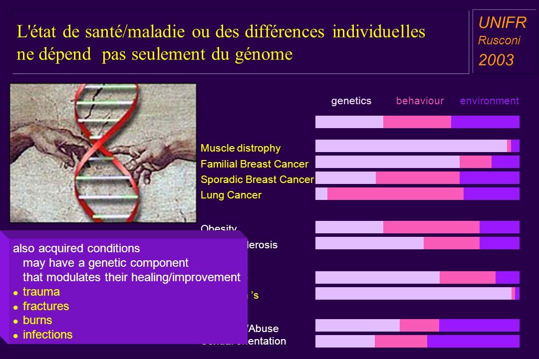 L état de santé/maladie ou des différences individuelles ne dépend pas seulement du génome