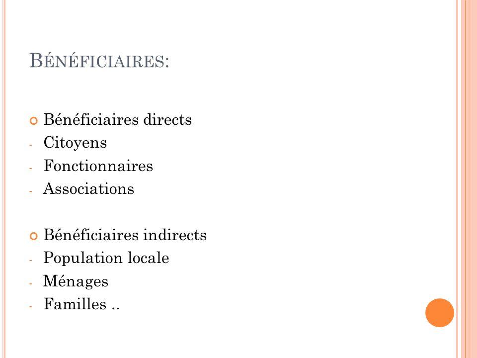 Bénéficiaires: Bénéficiaires directs Citoyens Fonctionnaires