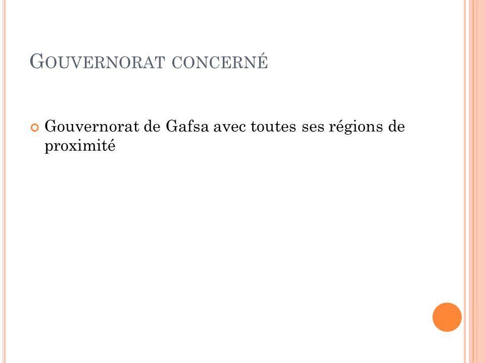Gouvernorat concerné Gouvernorat de Gafsa avec toutes ses régions de proximité