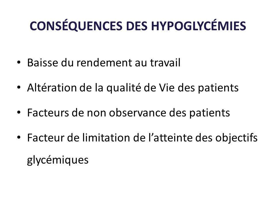 CONSÉQUENCES DES HYPOGLYCÉMIES