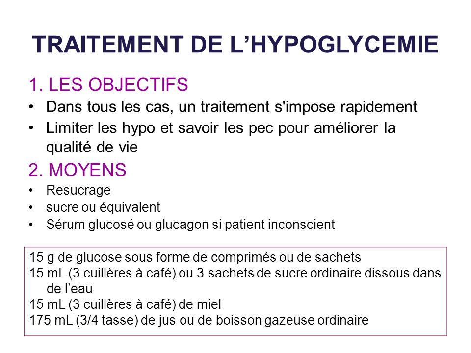 TRAITEMENT DE L'HYPOGLYCEMIE