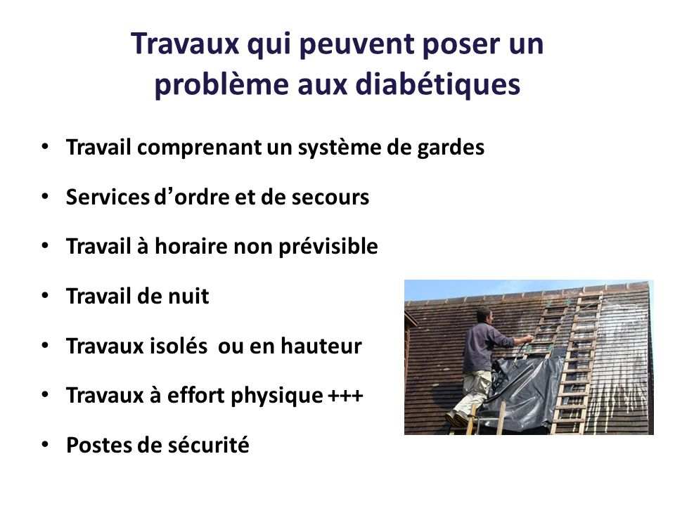 Travaux qui peuvent poser un problème aux diabétiques