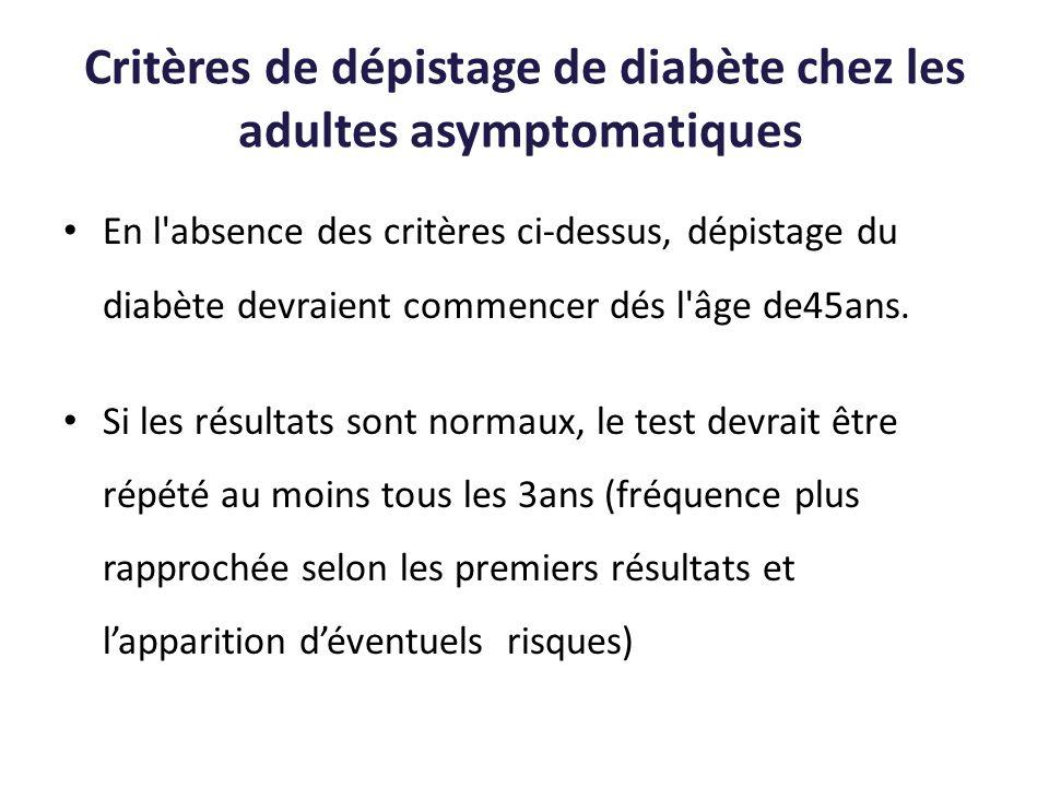 Critères de dépistage de diabète chez les adultes asymptomatiques