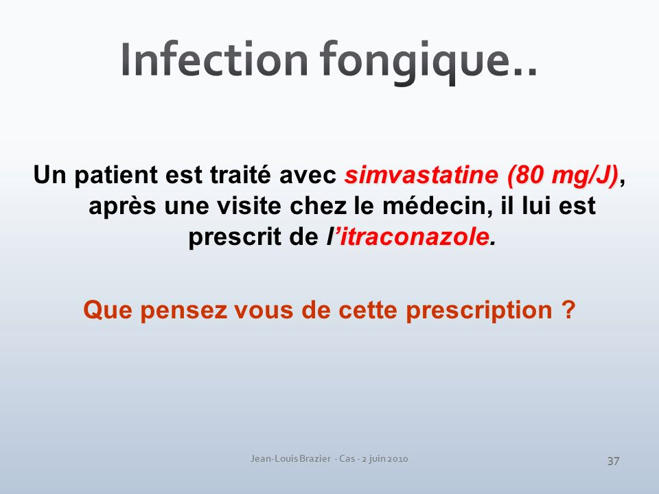 Infection fongique.. Un patient est traité avec simvastatine (80 mg/J), après une visite chez le médecin, il lui est prescrit de l'itraconazole.