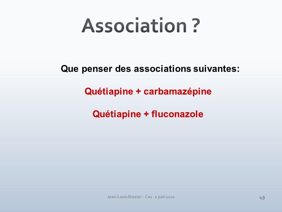 Association Que penser des associations suivantes: