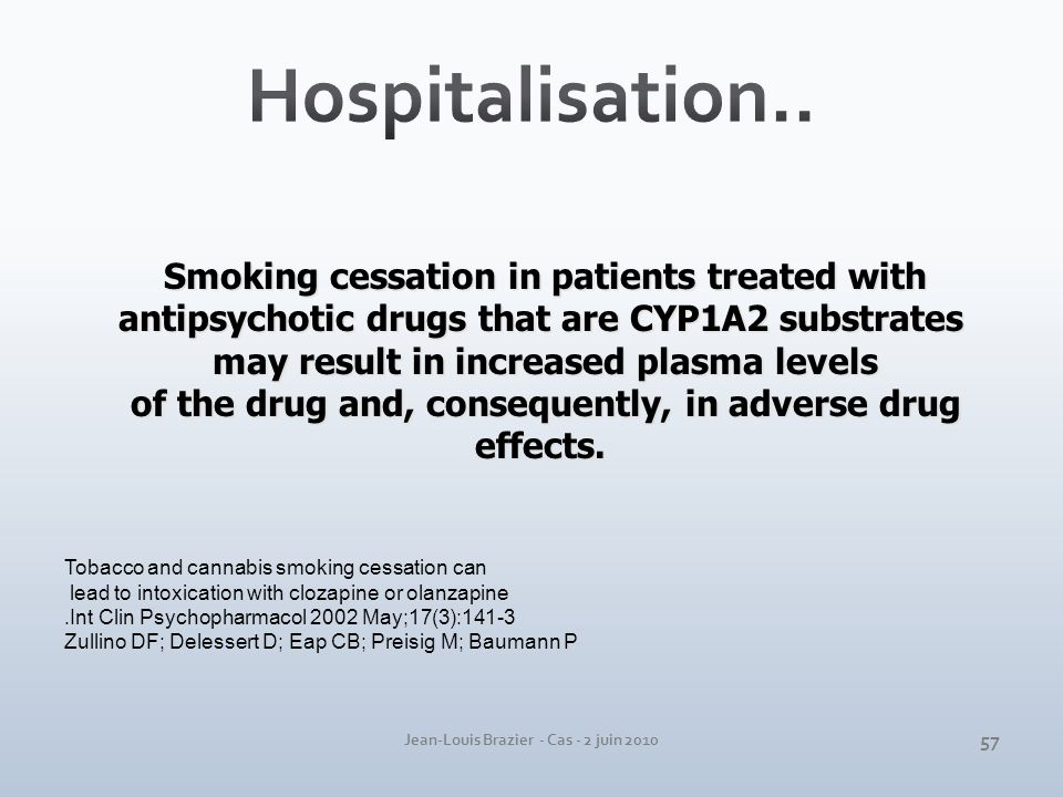 Hospitalisation.. Smoking cessation in patients treated with