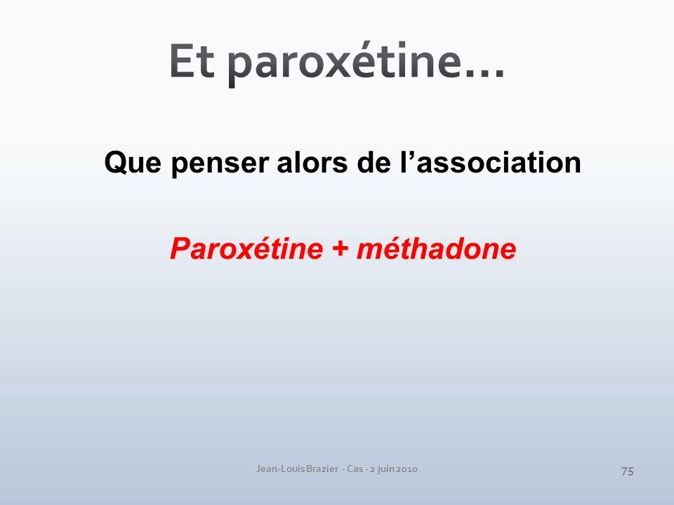 Et paroxétine… Que penser alors de l'association