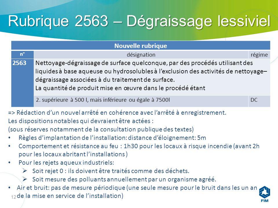 Rubrique 2563 – Dégraissage lessiviel