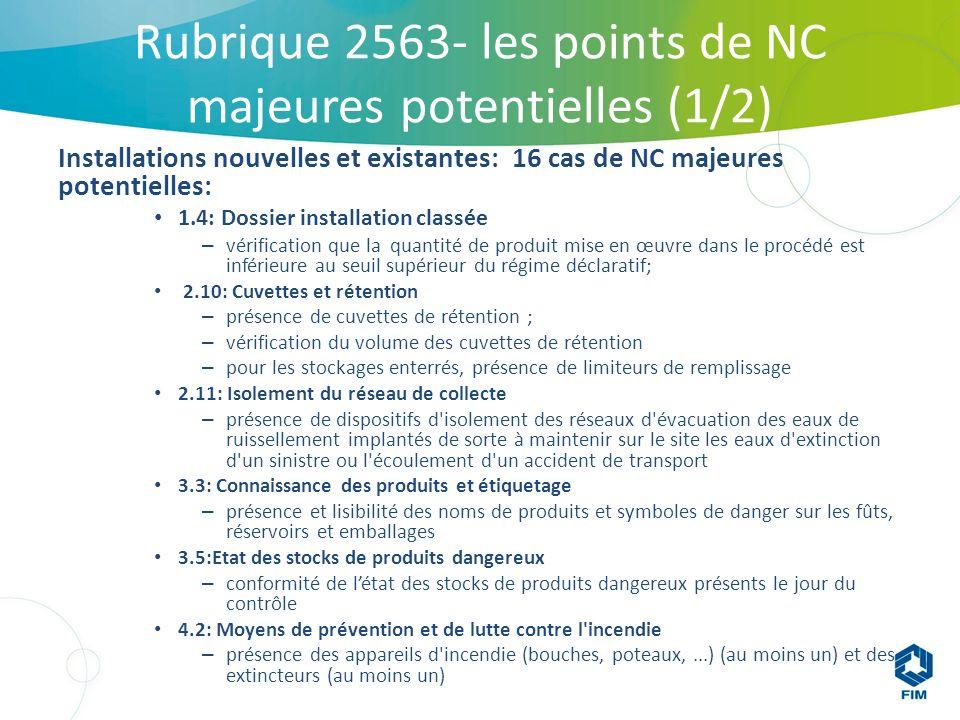 Rubrique 2563- les points de NC majeures potentielles (1/2)