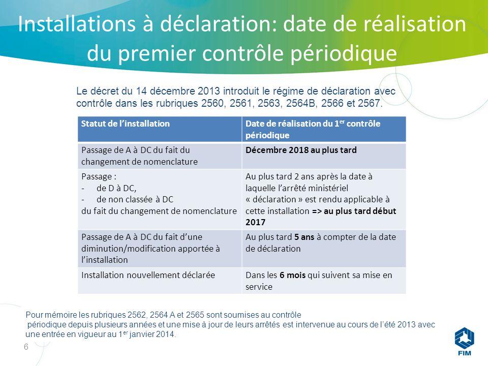 Installations à déclaration: date de réalisation du premier contrôle périodique