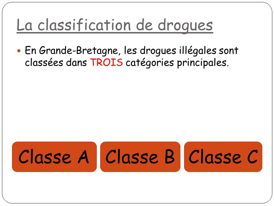La classification de drogues