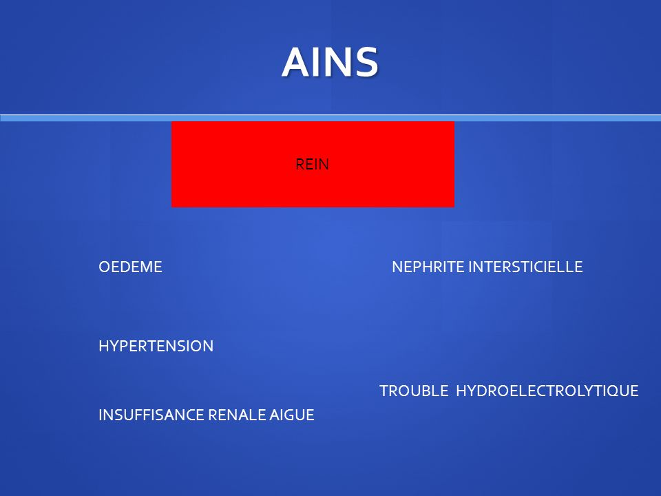 AINS REIN OEDEME NEPHRITE INTERSTICIELLE HYPERTENSION