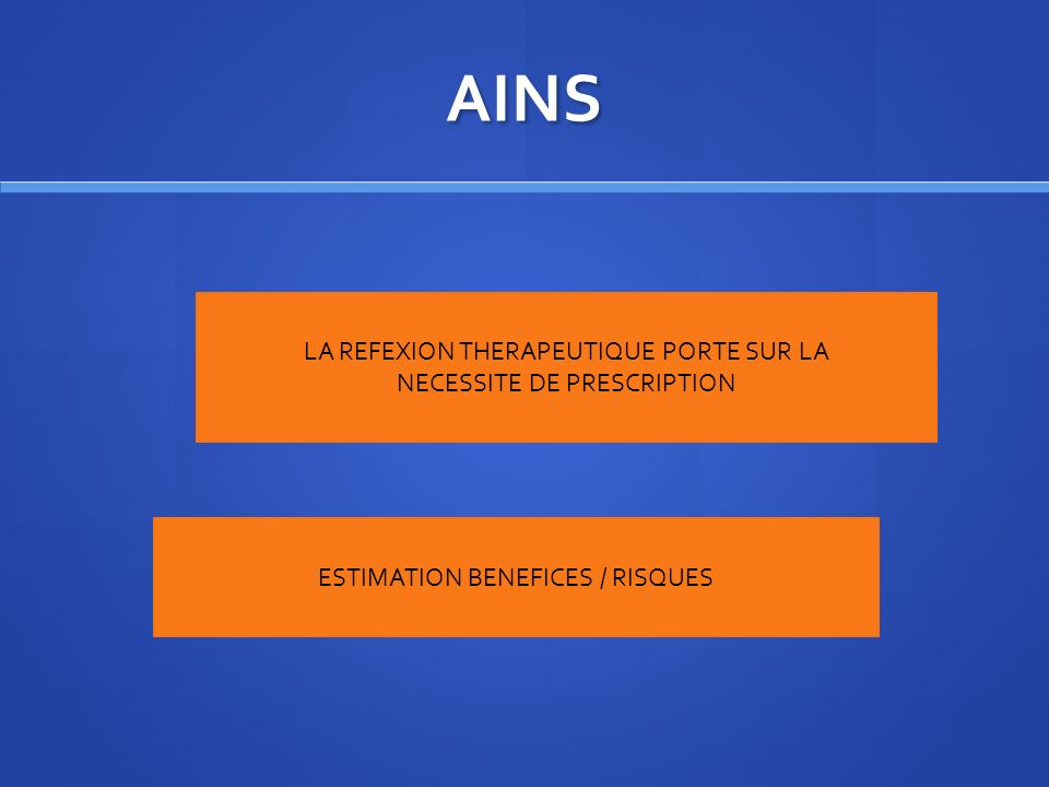 AINS LA REFEXION THERAPEUTIQUE PORTE SUR LA NECESSITE DE PRESCRIPTION