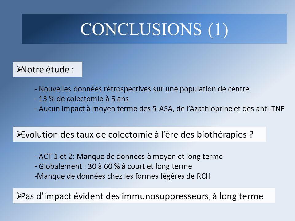 CONCLUSIONS (1) Notre étude :