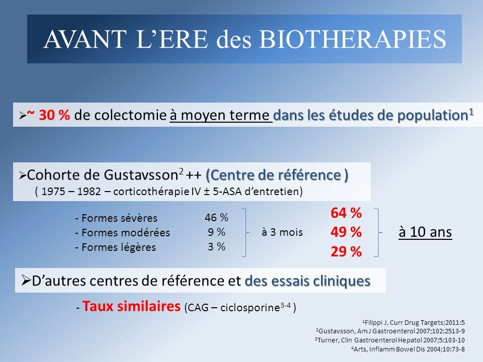 AVANT L'ERE des BIOTHERAPIES