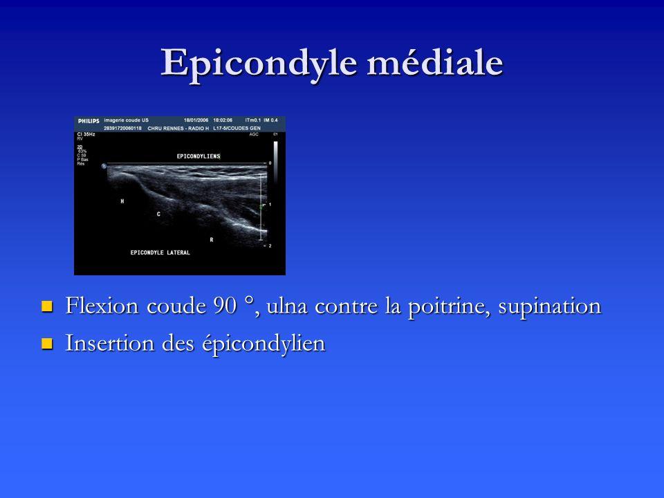 Epicondyle médiale Flexion coude 90 °, ulna contre la poitrine, supination.