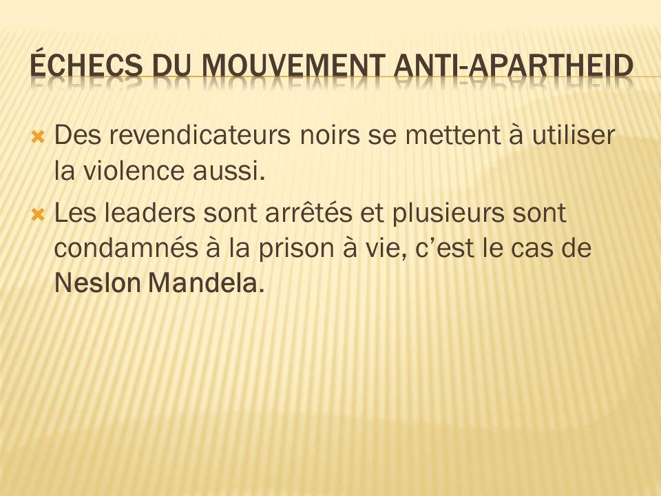 Échecs du mouvement anti-Apartheid
