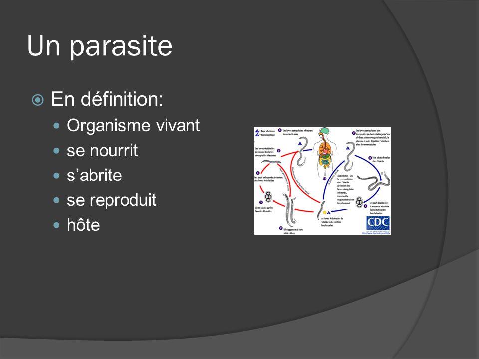 Un parasite En définition: Organisme vivant se nourrit s'abrite