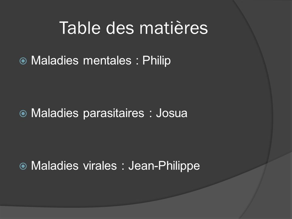 Table des matières Maladies mentales : Philip
