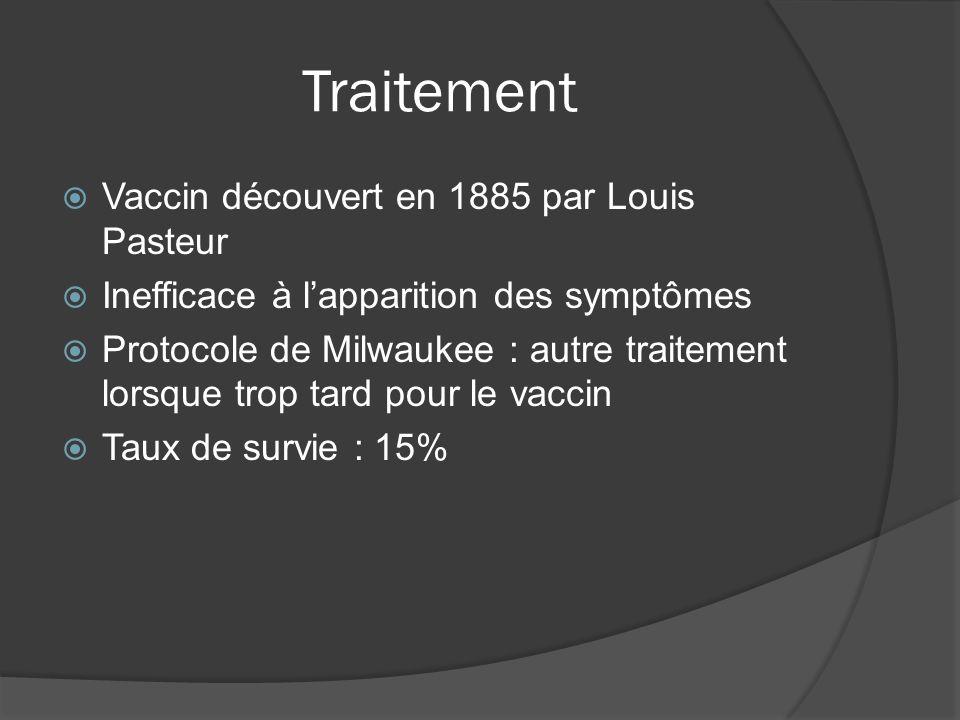 Traitement Vaccin découvert en 1885 par Louis Pasteur