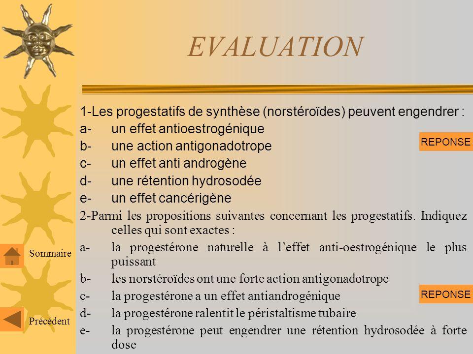 EVALUATION 1-Les progestatifs de synthèse (norstéroïdes) peuvent engendrer : a- un effet antioestrogénique.