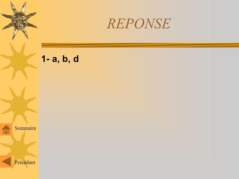 REPONSE 1- a, b, d Sommaire Précédent