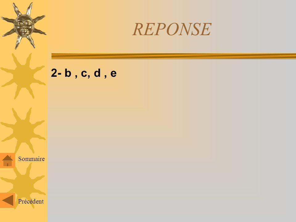 REPONSE 2- b , c, d , e Sommaire Précédent