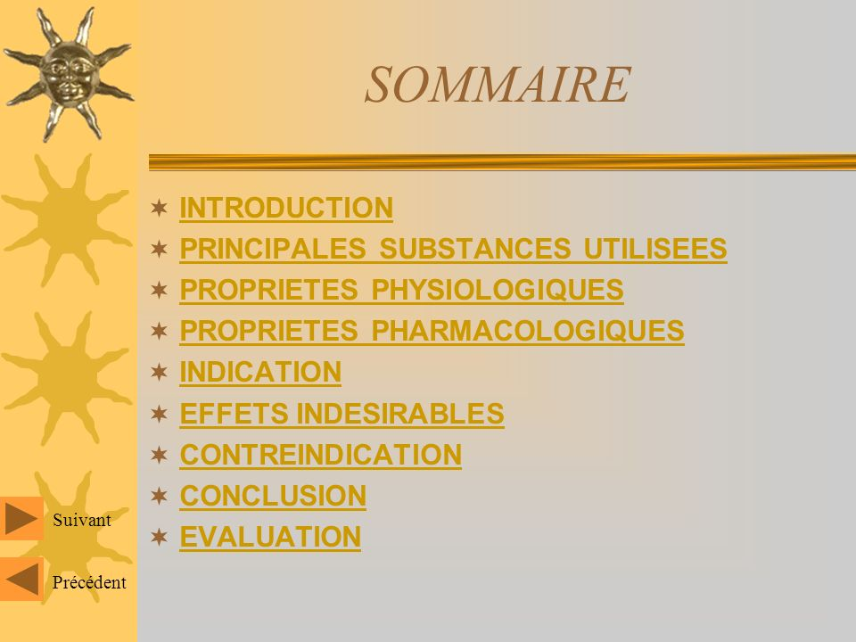 SOMMAIRE INTRODUCTION PRINCIPALES SUBSTANCES UTILISEES