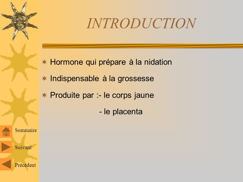 INTRODUCTION Hormone qui prépare à la nidation