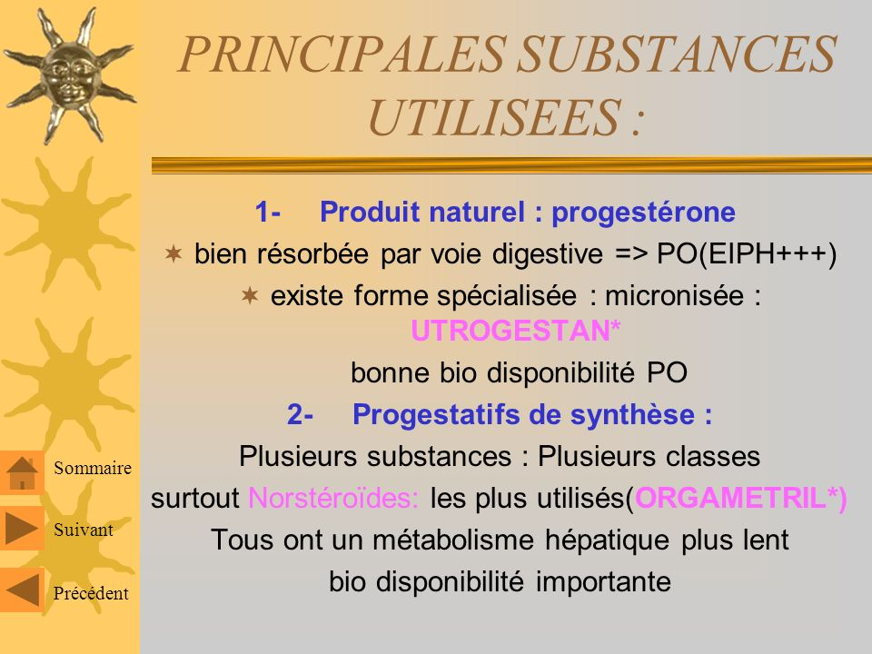 PRINCIPALES SUBSTANCES UTILISEES :