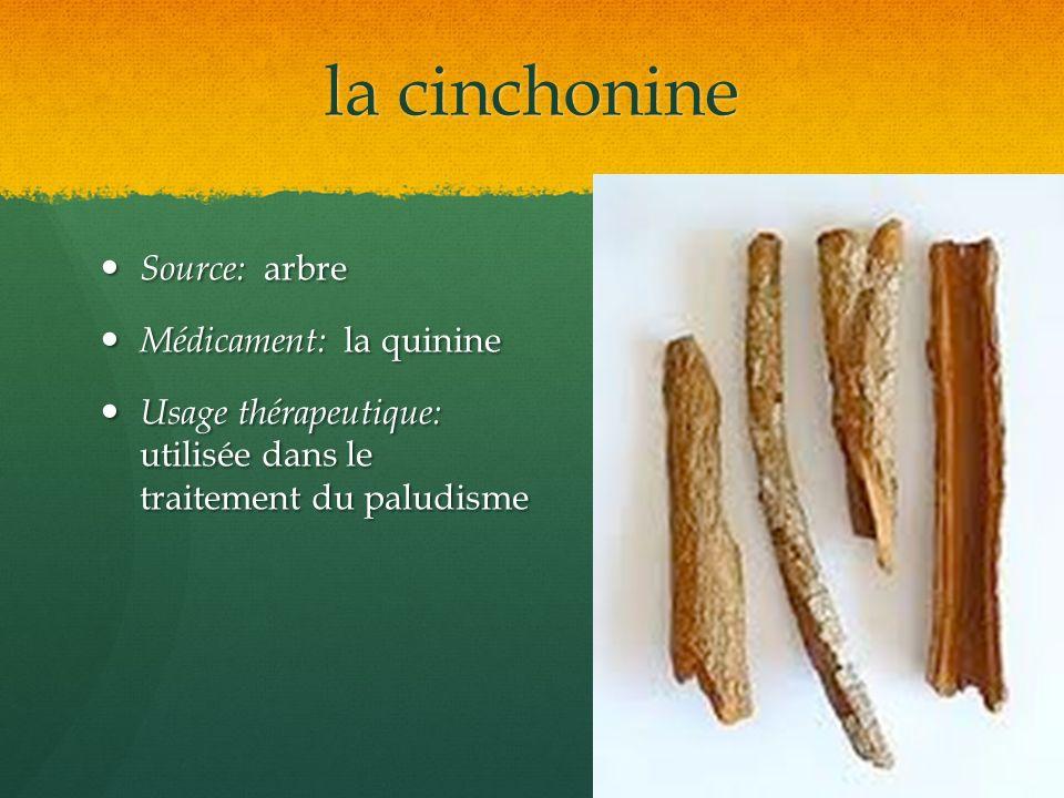 la cinchonine Source: arbre Médicament: la quinine