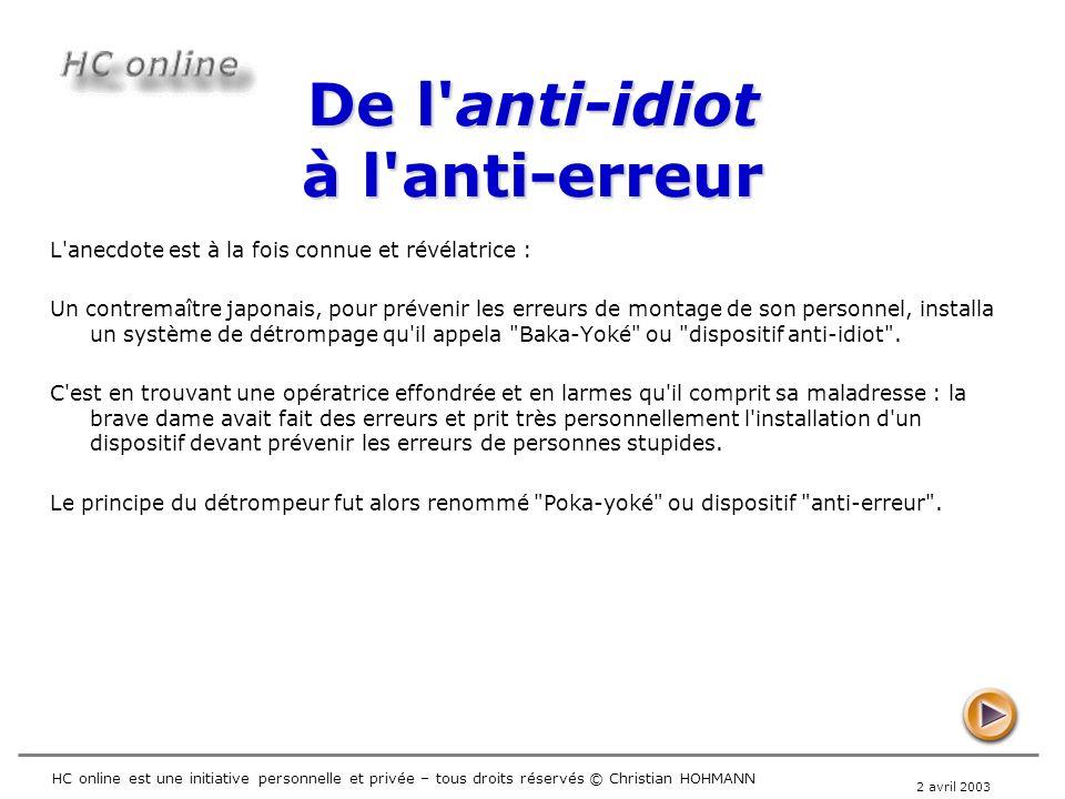 De l anti-idiot à l anti-erreur